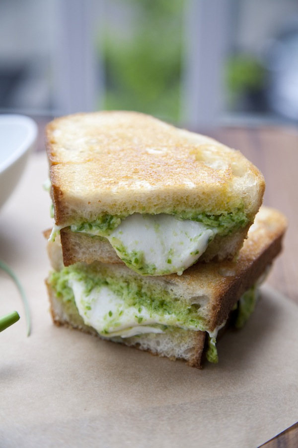 garlic scape pesto and fresh mozzarella grilled cheese / a thousand threads