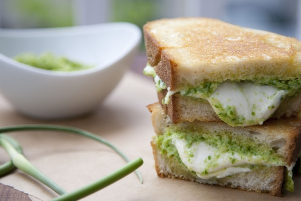 garlic scape and fresh mozzarella pesto grilled cheese / a thousand threads