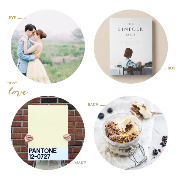 engagement shots by jen huang, a kinfolk cookbook, diy pantone posters, and lemon chocolate cheesecake pots